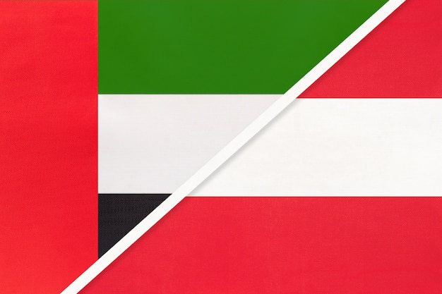 United arab emirates and austria, symbol of national flags