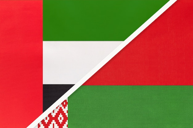 United arab emirates and belarus, symbol of national flags