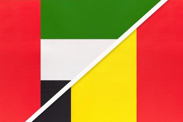 United arab emirates and belgium, symbol of national flags