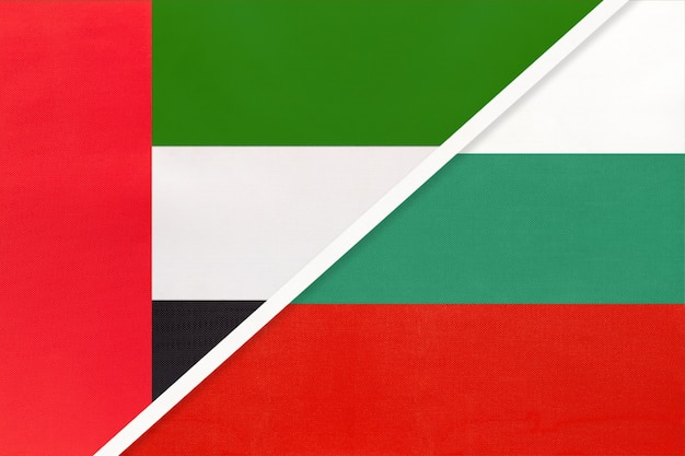 United arab emirates and bulgaria, symbol of national flags