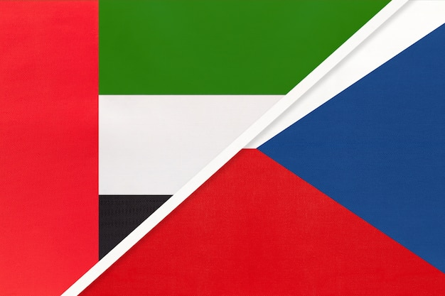 United arab emirates and czech republic, symbol of national flags