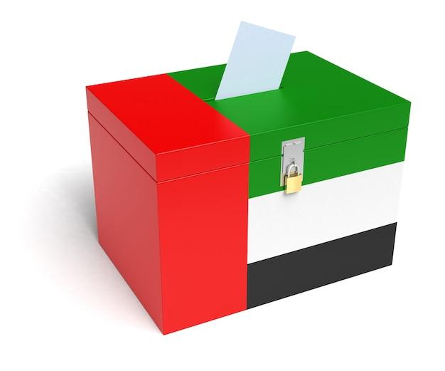 United arab emirates flag ballot box. isolated white background. 3d rendering