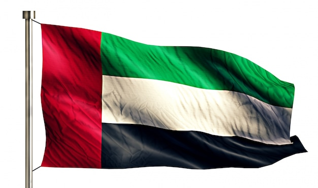 United arab emirates national flag isolated 3d white background