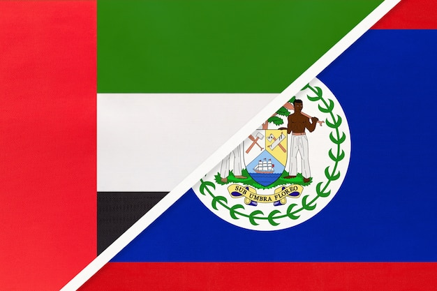 アラブ首長国連邦またはuaeとベリーズ、テキスタイルの2つの国旗のシンボル。