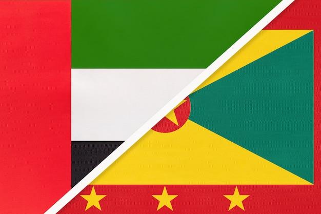 アラブ首長国連邦またはuaeとグレナダ、テキスタイルの2つの国旗のシンボル。