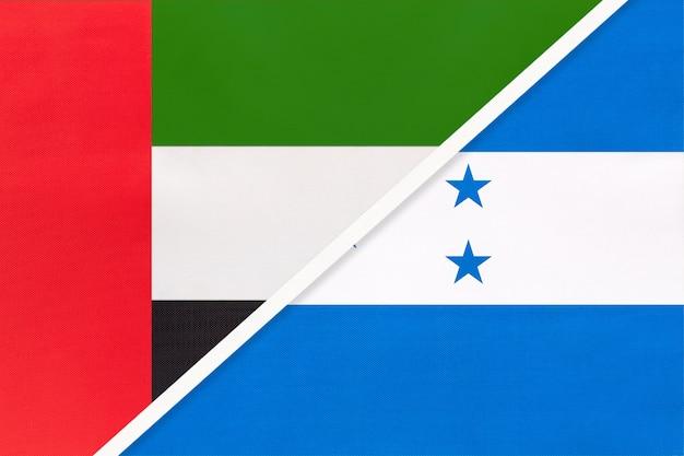 アラブ首長国連邦またはuaeとホンジュラス、テキスタイルの2つの国旗のシンボル。