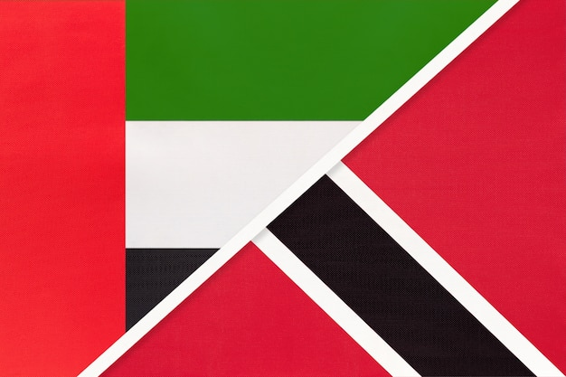 アラブ首長国連邦またはuaeとトリニダードトバゴ、テキスタイルの2つの国旗のシンボル。