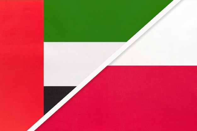 United arab emirates and poland, symbol of national flags