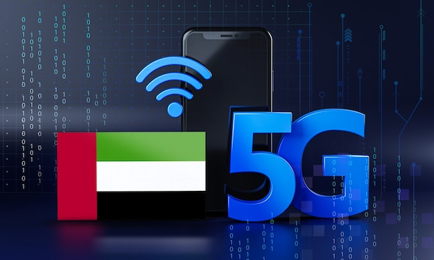 United arab emirates ready for 5g connection concept. 3d rendering smartphone technology background