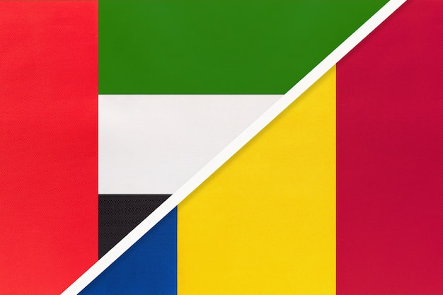 United arab emirates and romania, symbol of national flags