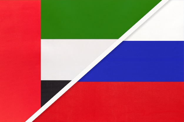 United arab emirates and russia, symbol of national flags