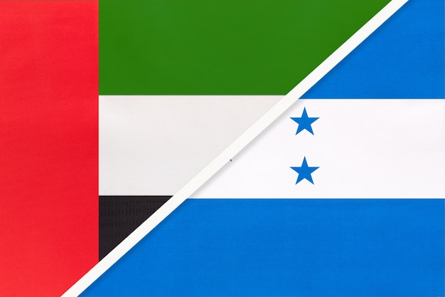 United arab emirates or uae and honduras, symbol of two national flags from textile.