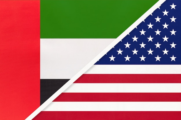 United arab emirates or uae and united states of america or usa, symbol of national flags.