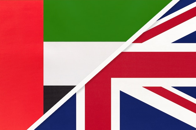 United arab emirates and uk, symbol of flags from