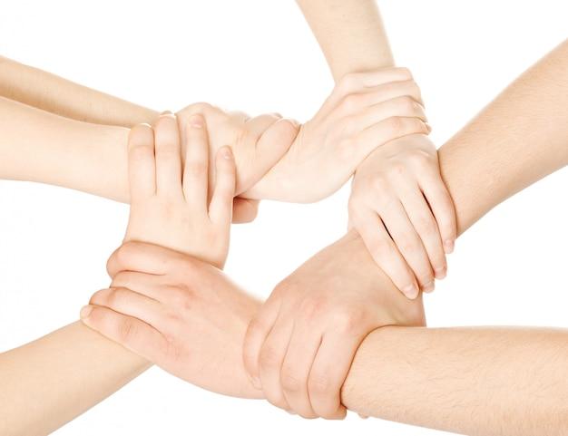 Соединенные руки на белом