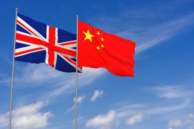 푸른 하늘 배경 위에 영국과 중국 플래그입니다. 3d 일러스트레이션