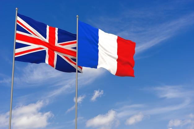 푸른 하늘 배경 위에 영국과 프랑스 플래그입니다. 3d 일러스트레이션