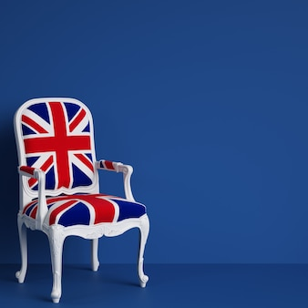 United kingdom flag chair on blue wall with copy space. 3d rendering