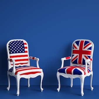 United kingdom flag chair and usa flag chair with copy space. 3d rendering