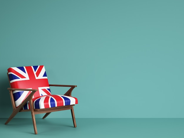 United kingdom flag chair with copy space. 3d rendering