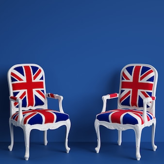 United kingdom flag chairs on blue wall with copy space. 3d rendering