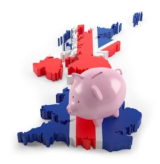 돼지 저금통에 영국 국기 지도입니다. 3d 그림