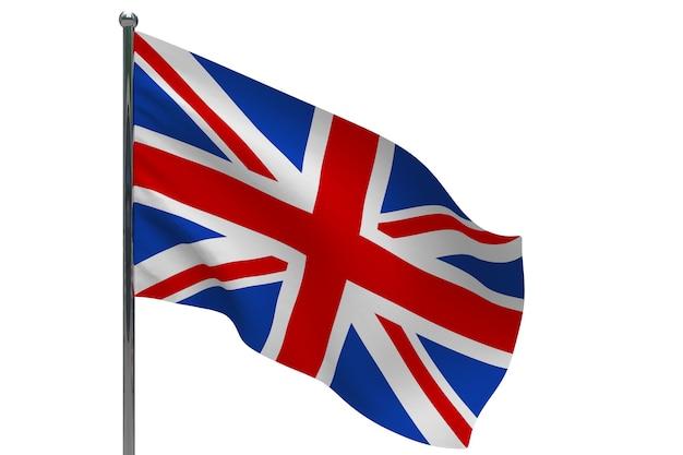 Флаг соединенного королевства на шесте. металлический флагшток. национальный флаг соединенного королевства 3d иллюстрация на белом