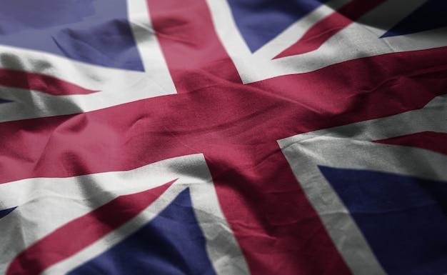 United kingdom flag rumpled close up