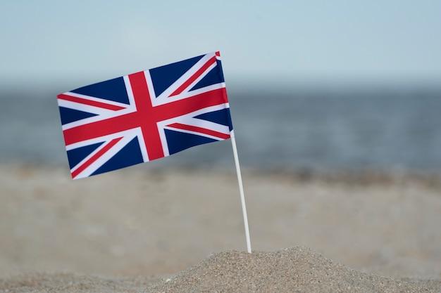 United kingdom flag on the sand