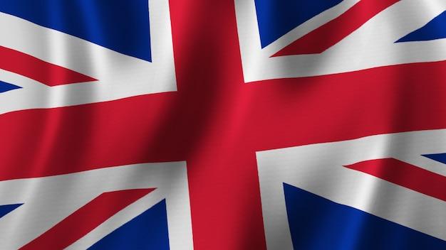 Флаг соединенного королевства размахивает крупным планом 3d-рендеринг с высококачественным изображением с текстурой ткани