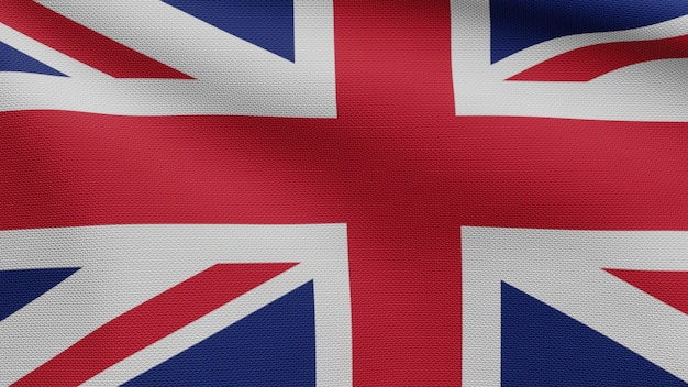 風に揺れるイギリスの旗。英国のバナーを吹く、柔らかく滑らかなシルクのクローズアップ。布生地のテクスチャは、背景をエンサインします。建国記念日や国の行事のコンセプトに使用してください。