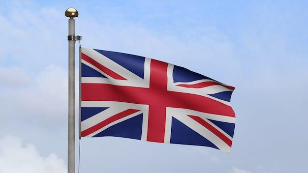 푸른 하늘 구름과 바람에 물결 치는 영국 국기. 영국 배너 부는 부드럽고 매끄러운 실크. 천 패브릭 질감 소위 배경입니다. 국경일 및 국가 행사 개념에 사용합니다.