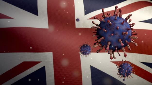 위험한 독감으로 호흡기를 감염시키는 코로나 바이러스 발생과 함께 영국 국기를 흔들며. 인플루엔자 유형 covid 19 바이러스와 영국 배너 불고 배경. 유행성 개념