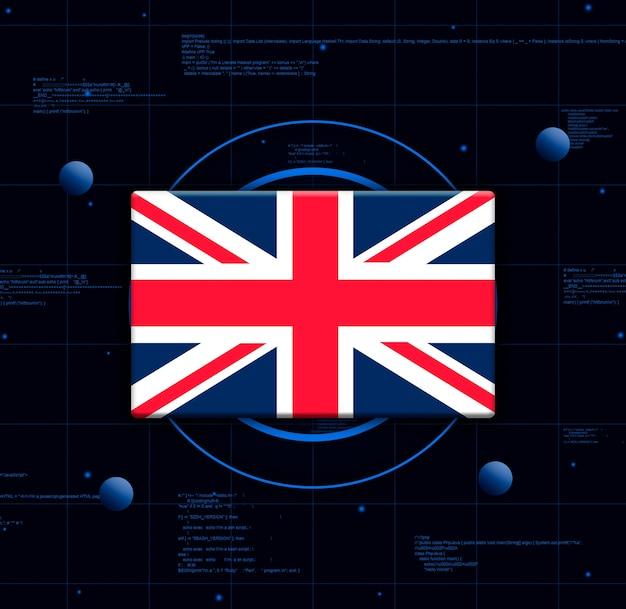Флаг великобритании с реалистичными технологическими элементами, 3d-рендеринг