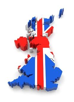 플래그 3d 렌더링이 있는 영국 지도