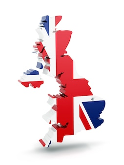 United kingdom map with flag texture isolated on white background.