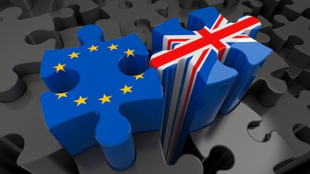 United kingdom versus europe puzzle concept. 3d rendering