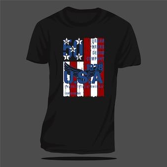 미국 추상 플래그 그래픽 티셔츠 디자인 타이포그래피 벡터 캐주얼 스타일