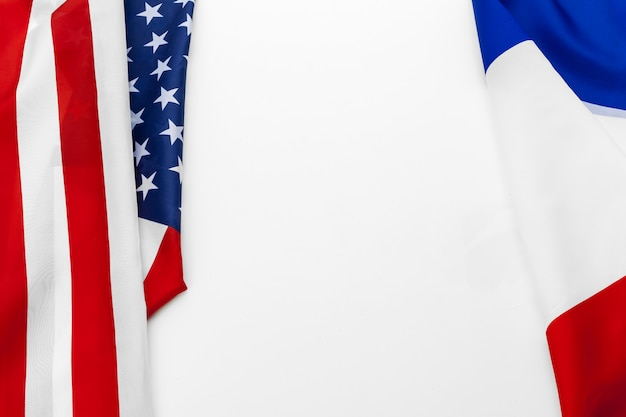 United states of america flag and france  flag