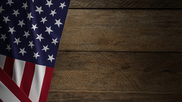 The united states of america  flag on wood for independence day concept 3d rendering