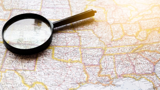 United states of america map with magnifying glass