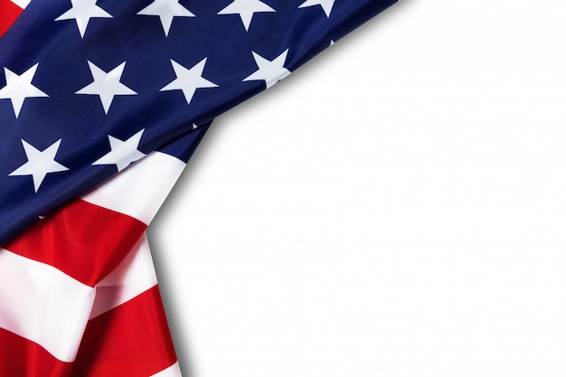 United states of american flag border isolated on white with clipping path