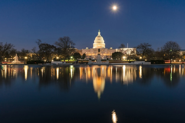 United states capitol building at twilight time with super full moon reflection with the big pool, washington, dc, usa