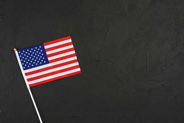 United states flag  on black