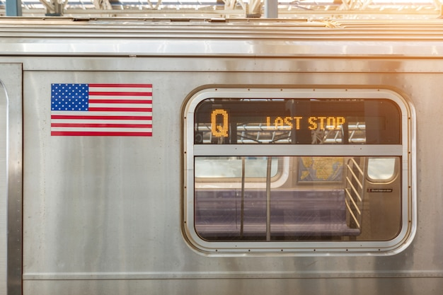 United states flag on a subway train