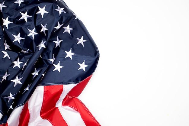 United states flag on white background.