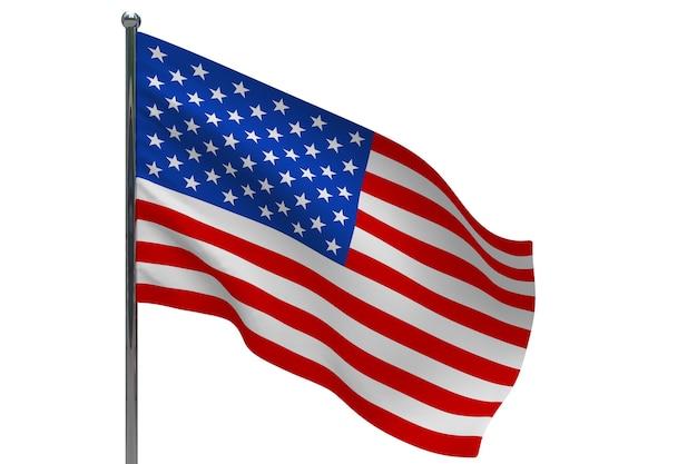 기둥에 미국 국기입니다. 금속 깃대. 화이트에 아메리카 합중국 3d 그림의 국기