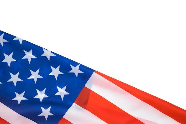 Флаг соединенных штатов америки на белом с copyspace