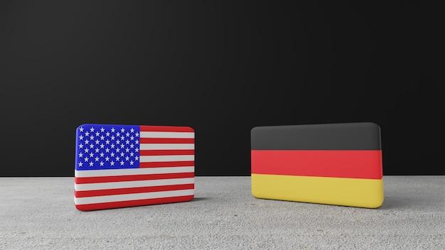 독일 사각형 플래그, 3d 렌더링이 있는 미국 사각형 플래그