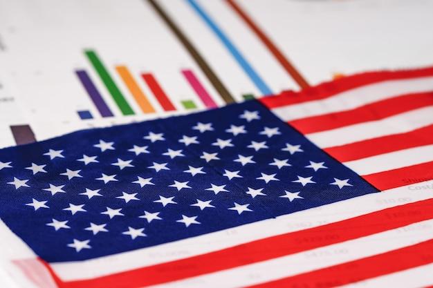 アメリカ合衆国グラフグラフ用紙に米国旗。